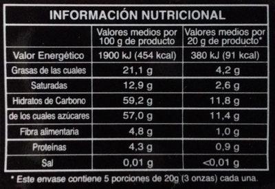 Chocolate negro relleno sabor Menta - Informations nutritionnelles