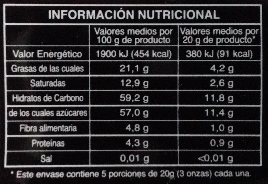 Chocolate negro relleno sabor menta - Voedingswaarden - es