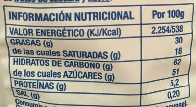 miniBARRITAS rellenas sabor nata y fresa - Nutrition facts