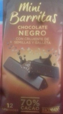 Mini Barritas chocolate negro con crujiente de semillas y galletas - Producte