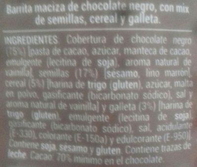 Mini Barritas chocolate negro con crujiente de semillas y galletas - Ingredients