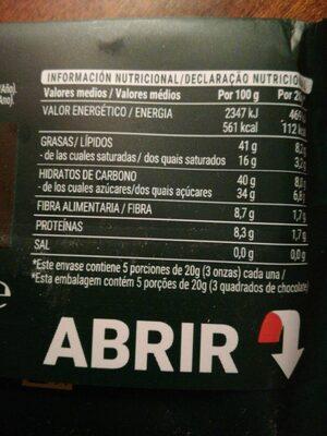 Chocolate extrafino negro avellanas - Información nutricional - es