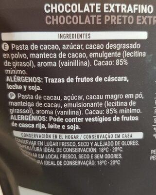Chocolate negro 85% cacao - Ingredientes
