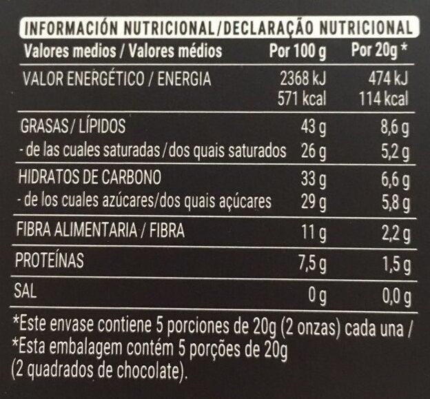 Chocolate extrafino negro 72% - Informació nutricional - es