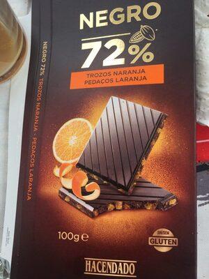 Chocolate negro 72% trozos de naranja