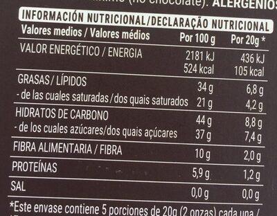 Chocolate negro 72% trozos de naranja - Información nutricional - es