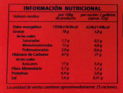 Galletas digestive clásica - Valori nutrizionali - es