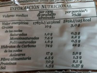 Maria Integral - Información nutricional