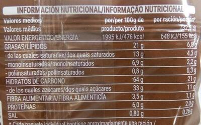 Tortitas de maiz chocolate negro - Nutrition facts - es