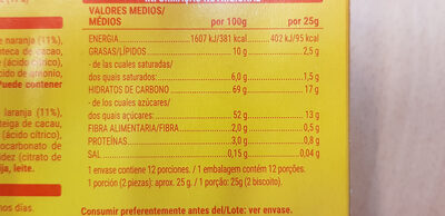 Galletas de naranja - Informació nutricional