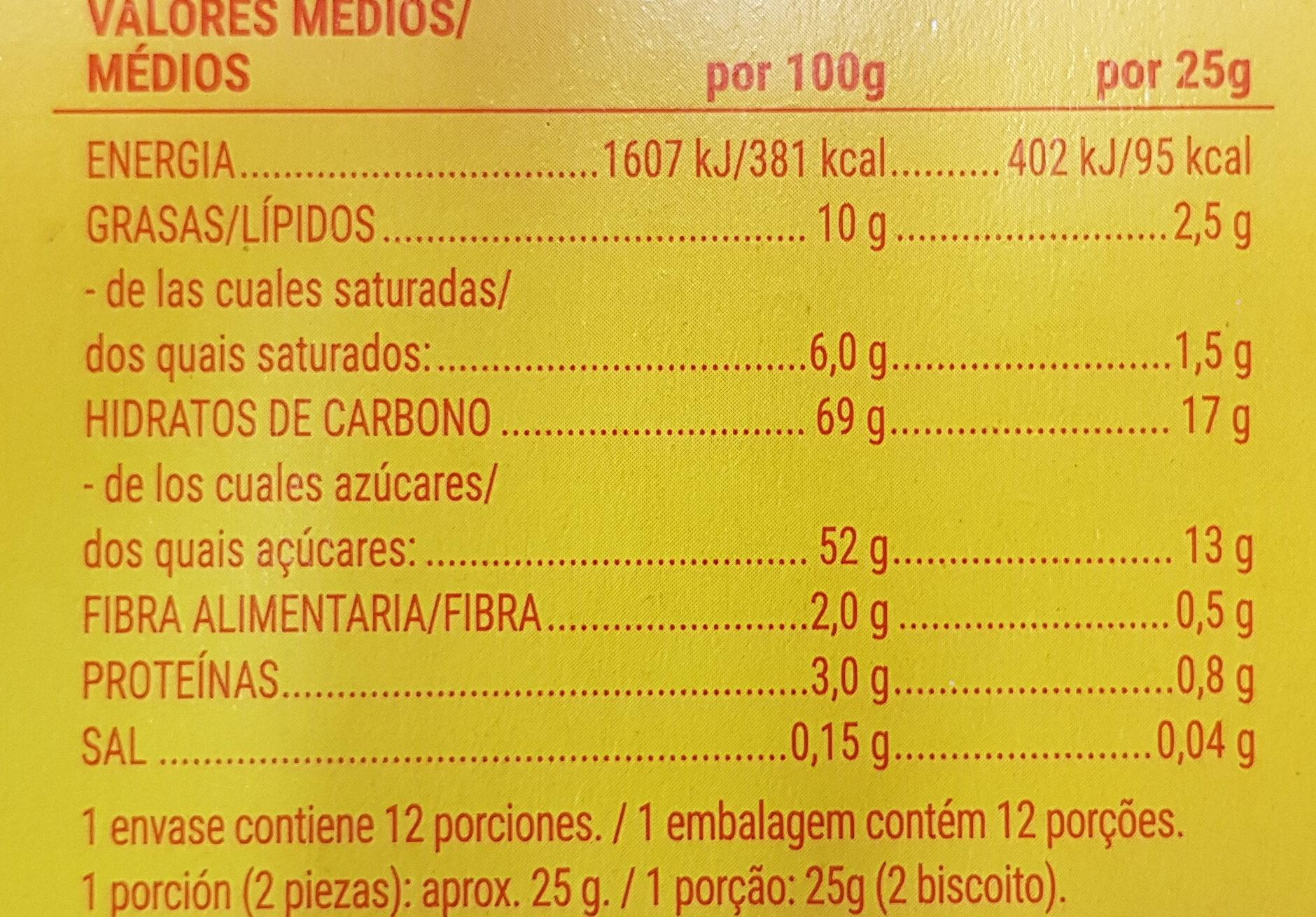 Galletas de naranja - Información nutricional - es