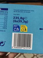 Galleta con cereales y fibra - Información nutricional