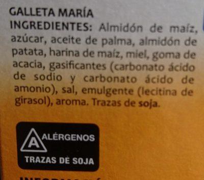 Galettes María - Ingredientes