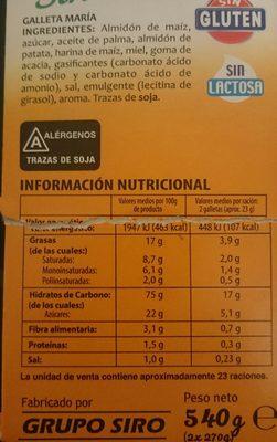 Galettes María - Información nutricional
