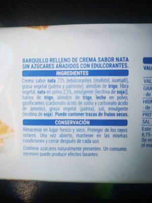 Barquillos de nata - Ingredientes - es
