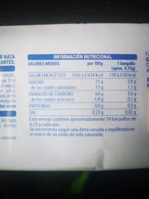 Barquillos de nata - Información nutricional - es
