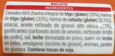 Galletas integrales con cereales - Ingredients