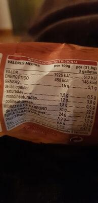 Galletas integrales con cereales - Nutrition facts