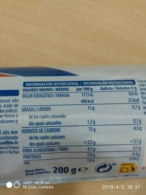 Maria 0% azúcares - Informació nutricional