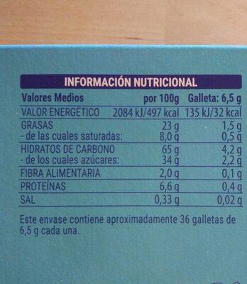 Galleta rellena de crema y recubierta de chocolate blanco - 营养成分 - es