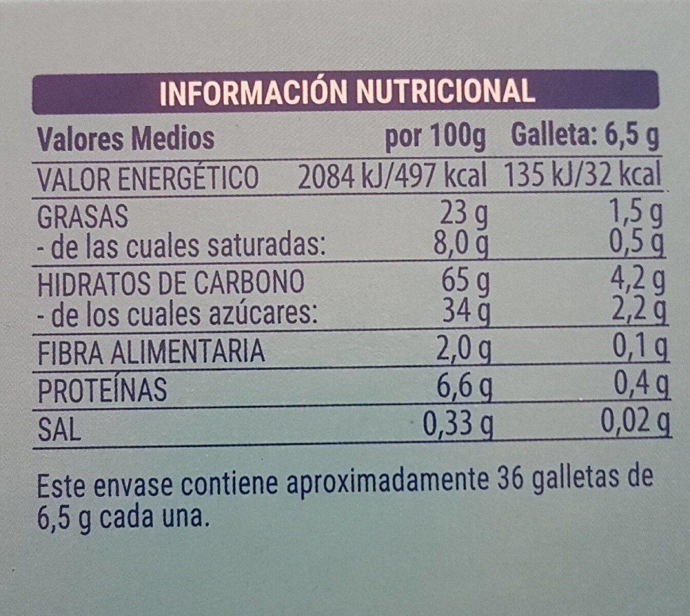 Galleta rellena de crema y recubierta de chocolate blanco - Valori nutrizionali - es