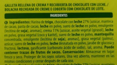Galleta Rellena De Crema Y Recubierta De Chocolate Con Leche - Ingredients - es