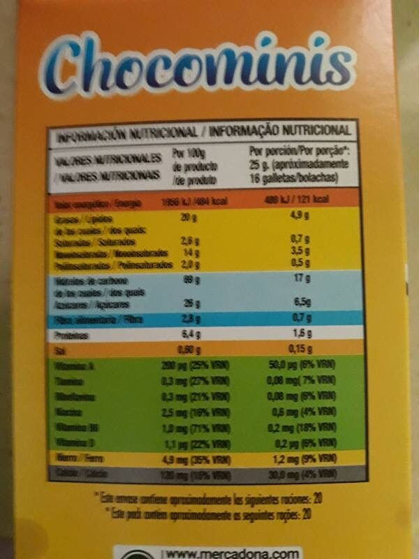 Chocominis - Nutrition facts - es