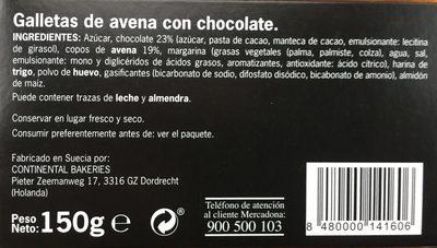 Crujientes con chocolate y avena - Ingredients - es