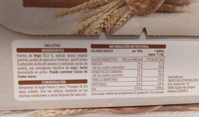 Pastas tradicionales - Informació nutricional