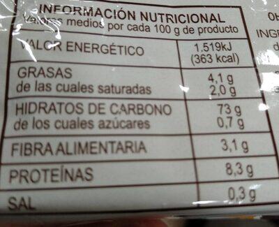 Obleas para helados - Voedingswaarden - es