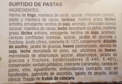 Surtido de pastas - Ingredientes