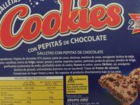Cookies con pepitas de chocolate - Ingredientes