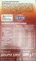 Cookies sin gluten - Nutrition facts - es