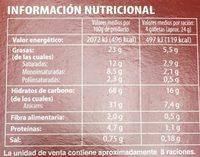 Cookies au Chocolat sans Gluten - Información nutricional