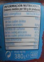 Mermelada de fresa 0% azúcares - Información nutricional