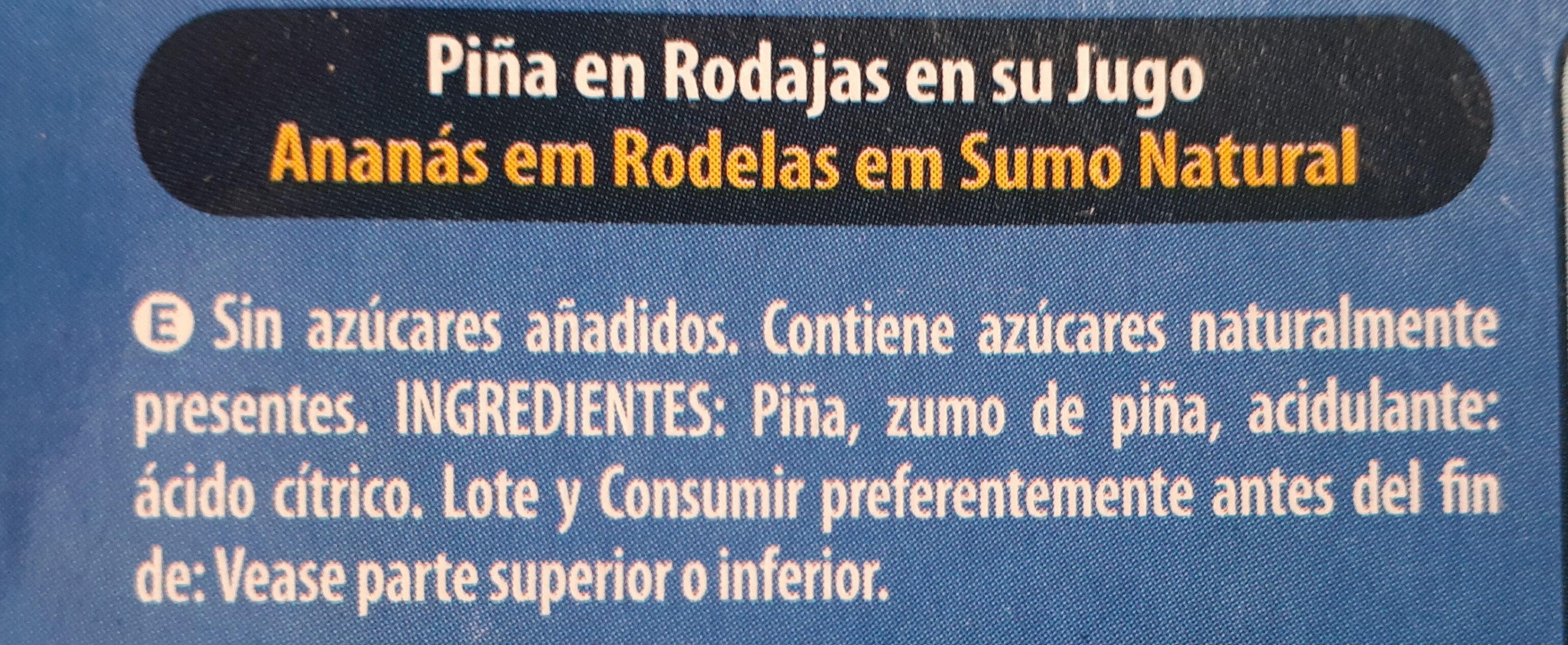 Piña en su jugo - Ingrediënten - es