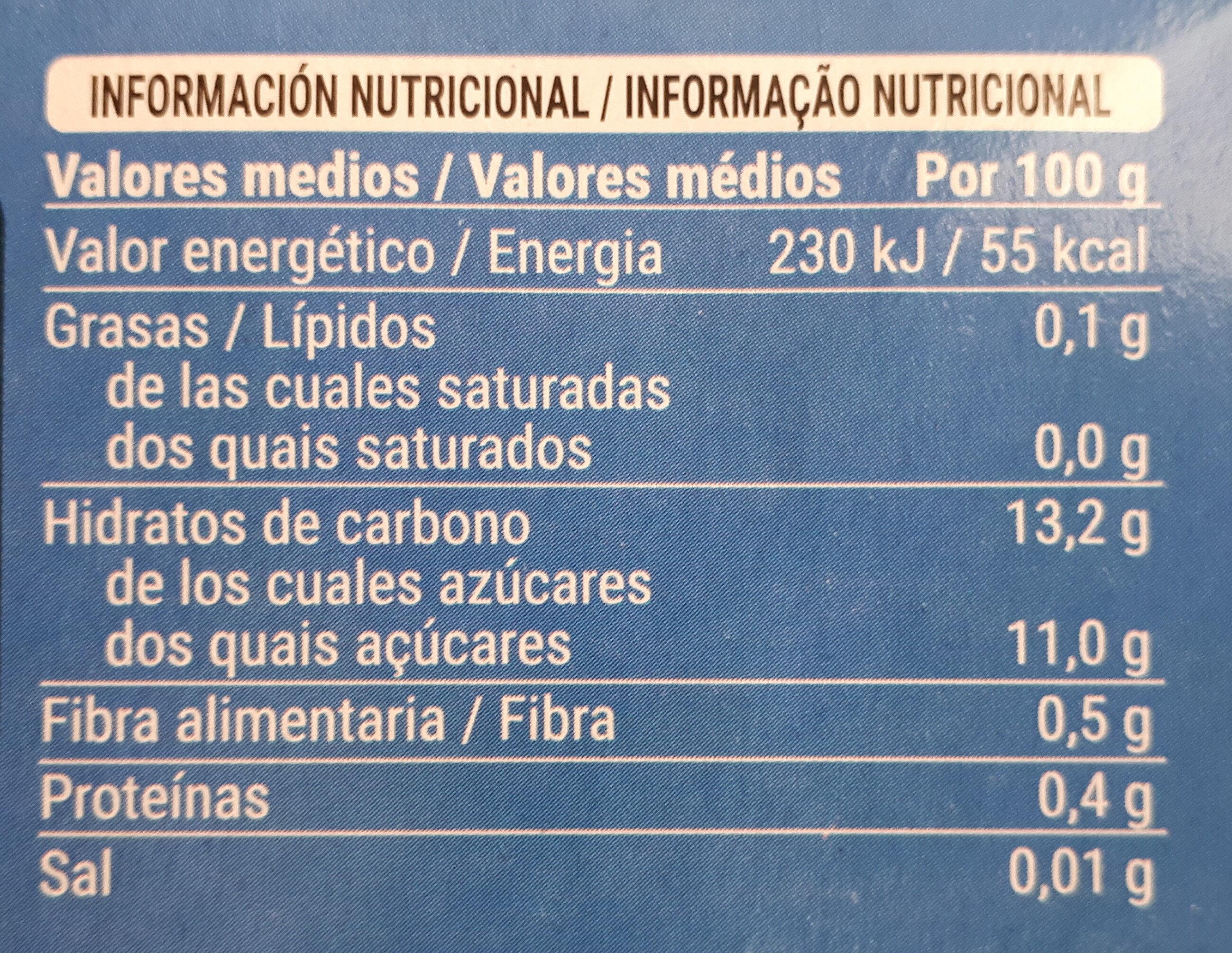 Piña en su jugo - Voedingswaarden - es