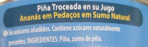Piña troceada en su jugo - Ingrédients