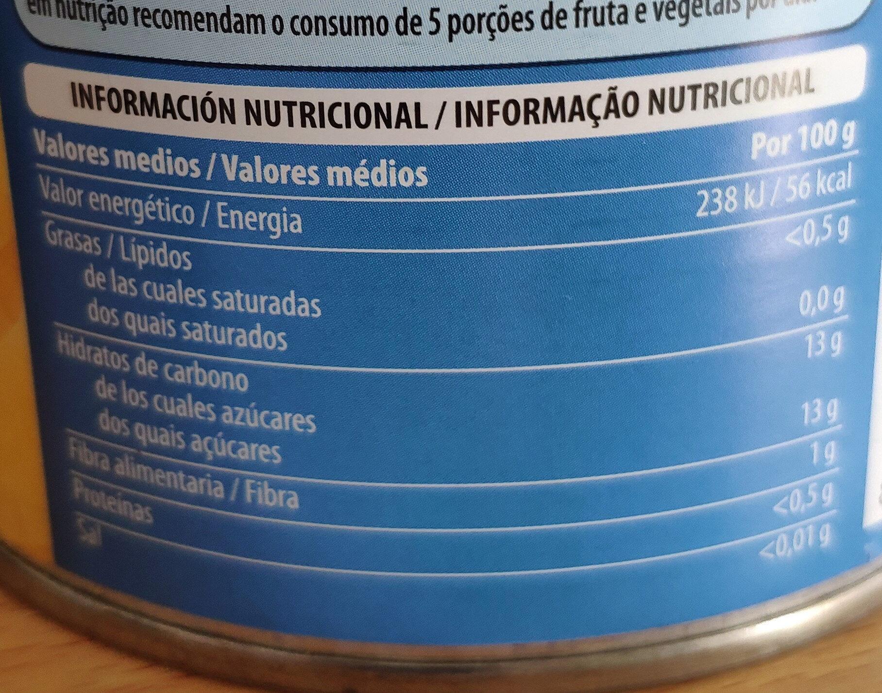 Piña en su jugo - Informació nutricional - es