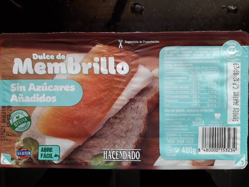 Dulce de membrillo sin azúcares añadidos - Produit - es