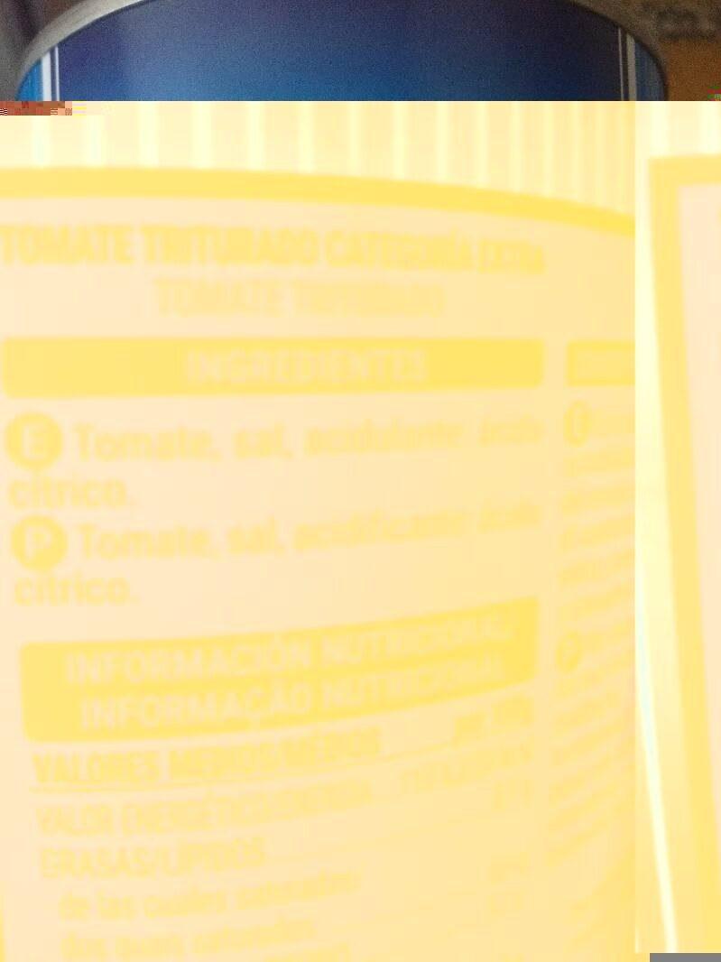 Tomate triturado - Ingrédients