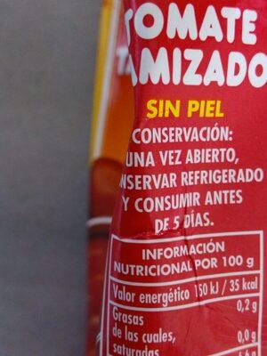 Tomate tamizado - Ingredientes