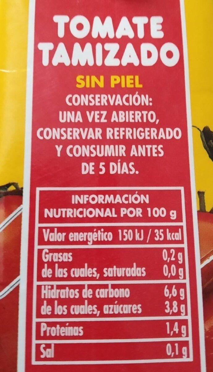 Tomate Tamizado. Categoría Extra. Con Brix - Nutrition facts - es