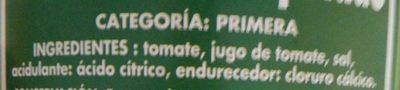 Tomate entero pelado - Ingredientes