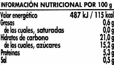 Tomate doble concentrado - Información nutricional