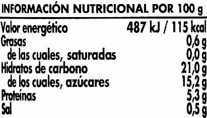 Tomate doble concentrado - Informació nutricional