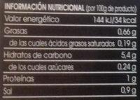 Pimientos asados tiras - Informations nutritionnelles - es