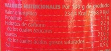 Patata para tortilla - Información nutricional - es