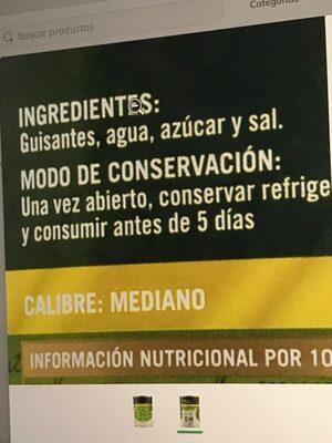 Guisantes extra - Ingredientes