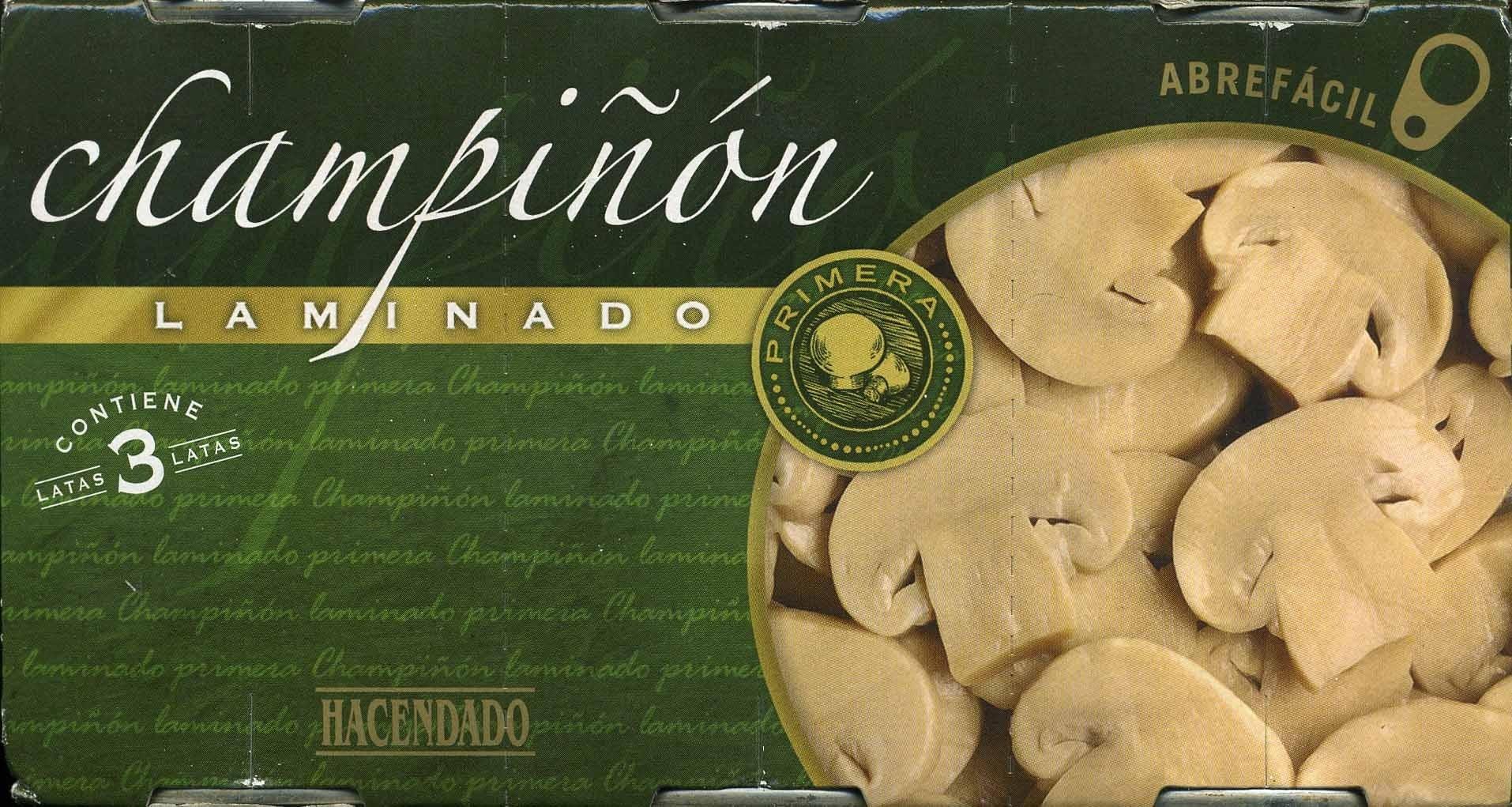 """Champiñones laminados en conserva """"Hacendado"""" Pack de 3 - Producte"""